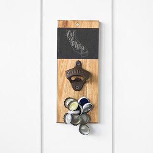 My State Slate & Acacia Wall Mount Bottle Opener with Magnetic Cap Catcher - Cece & Me - Home and Gifts