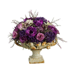 Statice/Anemone/ Allium in Plate ~ Purple & Lavender - Cece & Me - Home and Gifts