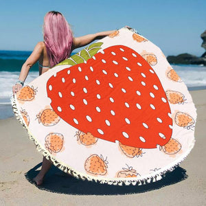 Strawberry Round Beach Terry Towel - Cece & Me - Home and Gifts
