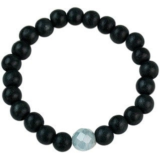 Stretchy Bracelets Ebony Aquamarine - Cece & Me - Home and Gifts