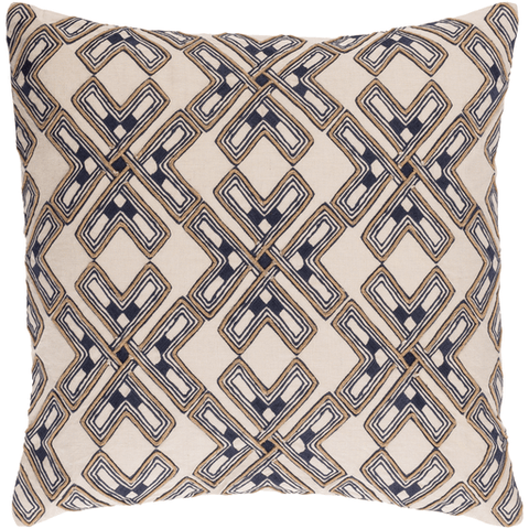 Image of Subira Pillow ~ Navy/Tan - Cece & Me - Home and Gifts