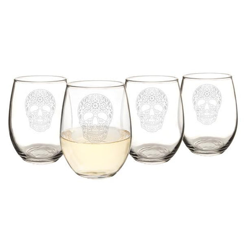 Sugar Skull 21 oz. Stemless Wine Glasses (Set of 4) - Cece & Me - Home and Gifts