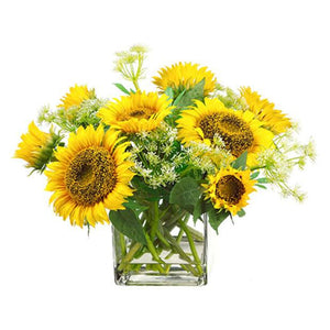 Sunflower/Queen Anne's Lace in Glass Vase ~ Yellow - Cece & Me - Home and Gifts