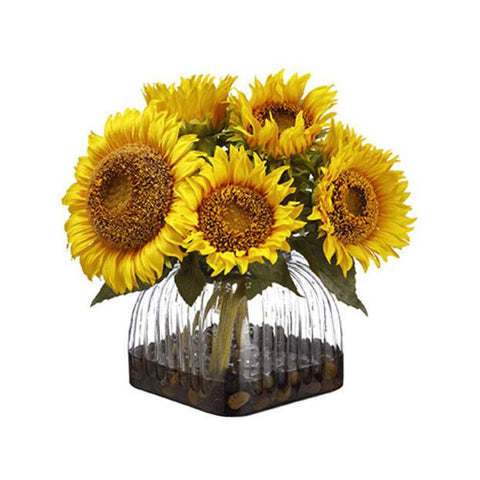 Sunflower in Glass Vase ~ Yellow - Cece & Me - Home and Gifts