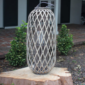Tall Grey Willow Lantern With Glass ~ Large - Cece & Me - Home and Gifts
