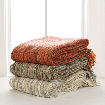 Teegan Throw ~ Rust/Khaki/Dark Brown/Coral - Cece & Me - Home and Gifts