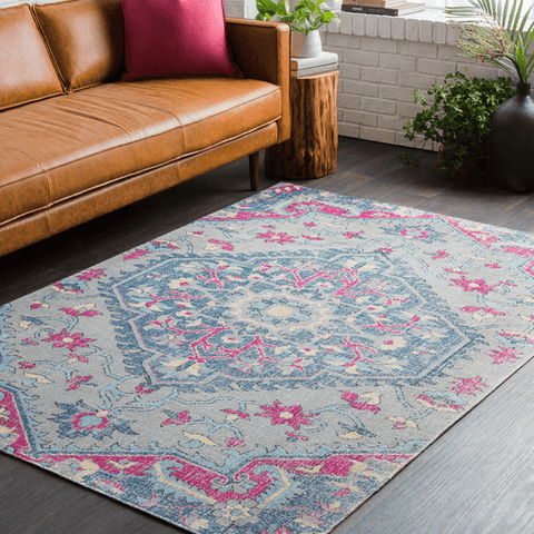 Image of Tessera III Rug ~ Bright Pink/Dark Blue/Medium Gray - Cece & Me - Home and Gifts
