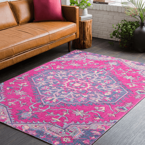 Tessera III Rug ~ Bright Pink/Dark Blue/Medium Gray - Cece & Me - Home and Gifts