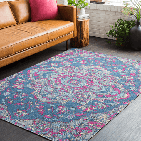 Image of Tessera IIII Rug ~ Dark Blue/Bright Pink/Medium Gray - Cece & Me - Home and Gifts