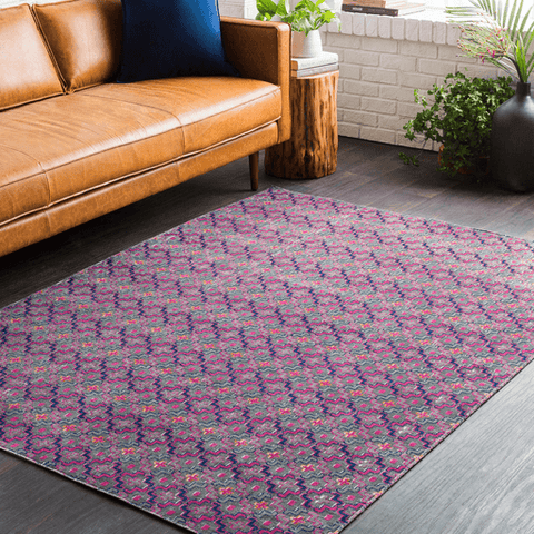Image of Tessera Pattern I Rug ~ Bright Pink/Dark Blue - Cece & Me - Home and Gifts