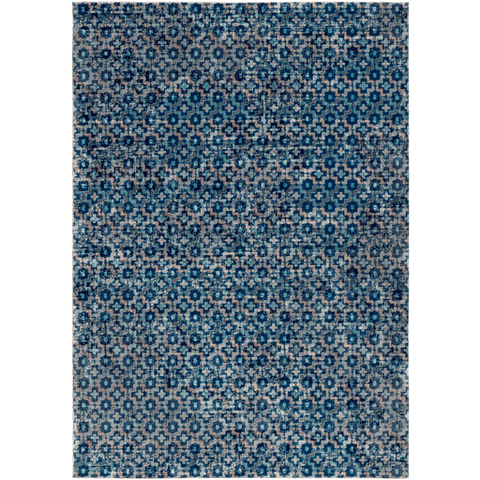 Image of Tessera Pattern I Rug ~ Dark Blue/Teal - Cece & Me - Home and Gifts