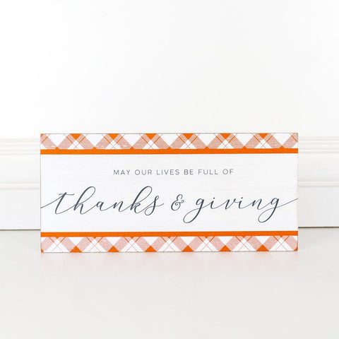 Thanks & Giving Reversible Wood Tile - Cece & Me - Home and Gifts