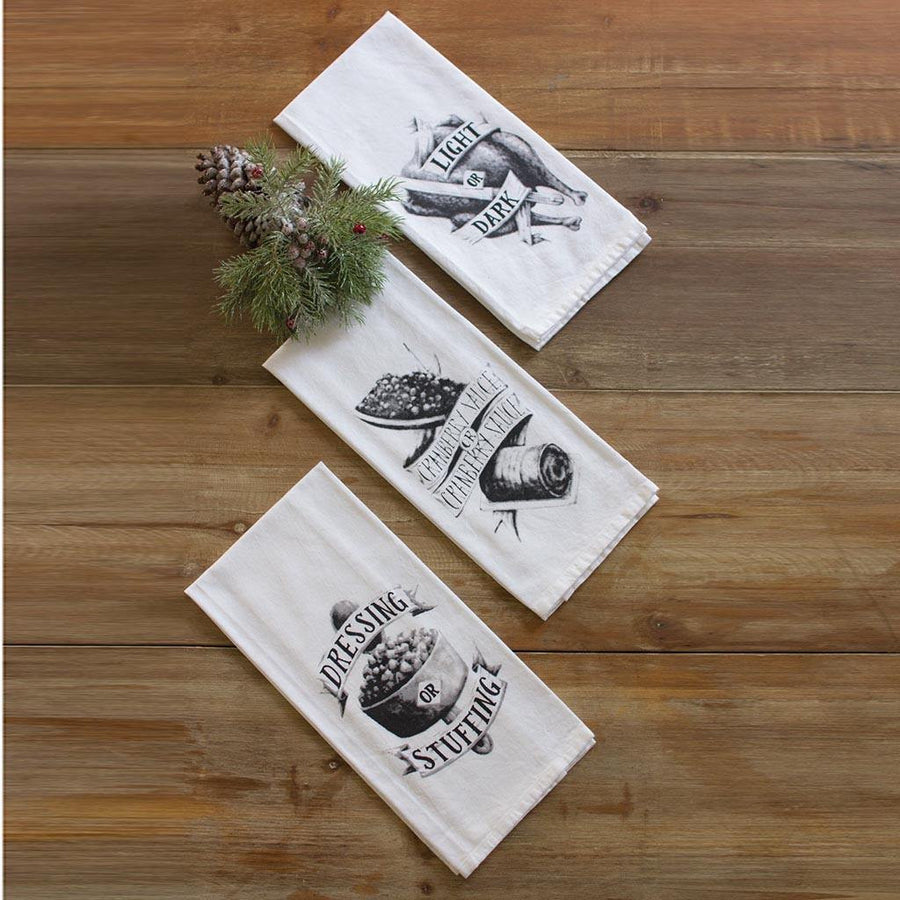 (Set of 3) Thanksgiving Kitchen Towels - Cece & Me - Home and Gifts