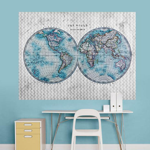The World in Hemispheres Mural Decals - Cece & Me - Home and Gifts