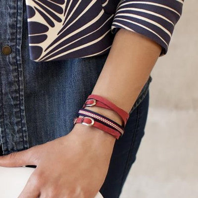 Triple Sueded Leather Bracelet ~ Red - Cece & Me - Home and Gifts