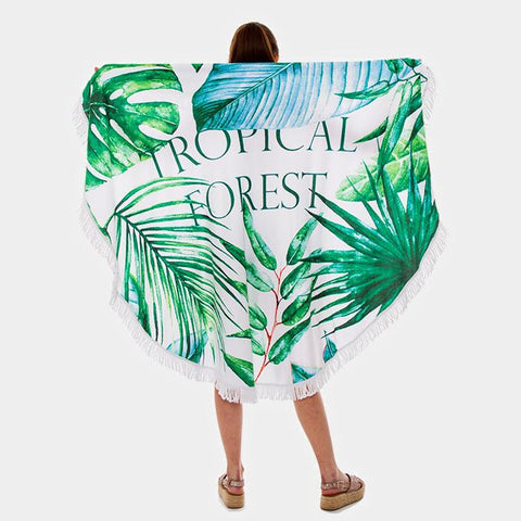 Tropical Forest Round Beach Terry Towel - Cece & Me - Home and Gifts