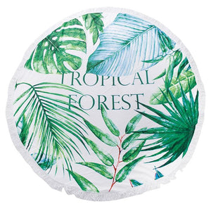 Tropical Forest Round Beach Terry Towel