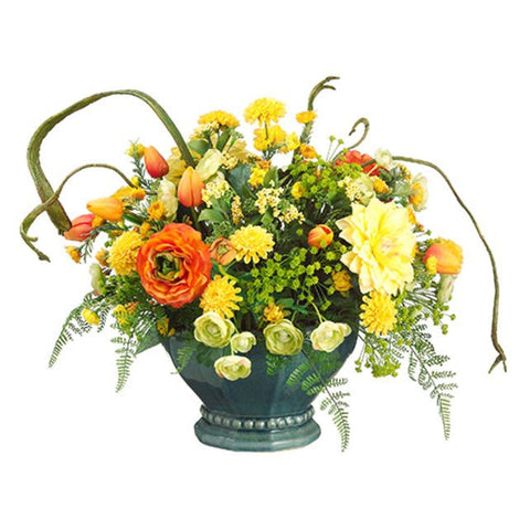 Tulip/Daisy/ Mum/Ranunculus in Metal Container ~ Orange & Yellow - Cece & Me - Home and Gifts