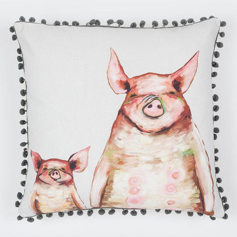 Image of Two Piggies In A Row - Soft Gray Pillow - Cece & Me - Home and Gifts