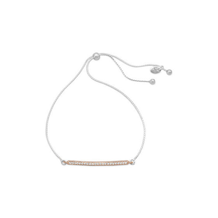 Two Tone CZ Bar Friendship Bolo Bracelet - Cece & Me - Home and Gifts