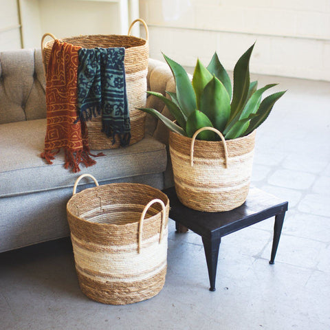 Two Toned Natural Round Baskets (Set of 3) - Cece & Me - Home and Gifts