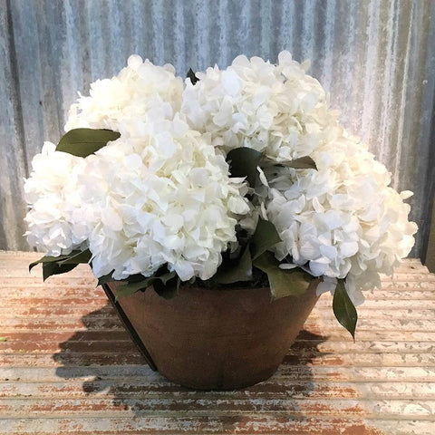 White Hydrangea in Ukranian Dough Bowl - Cece & Me - Home and Gifts