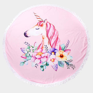 Unicorn Round Beach Terry Towel - Cece & Me - Home and Gifts