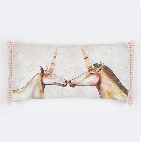 Image of Unicorns With Patterned Horns - Floral Pillow - Cece & Me - Home and Gifts