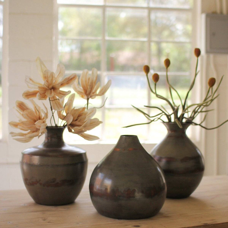 Vases Above Raw Metal With Copper Detail (Set of 3)
