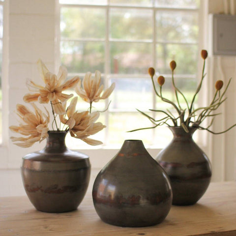 Vases Above Raw Metal With Copper Detail (Set of 3) - Cece & Me - Home and Gifts