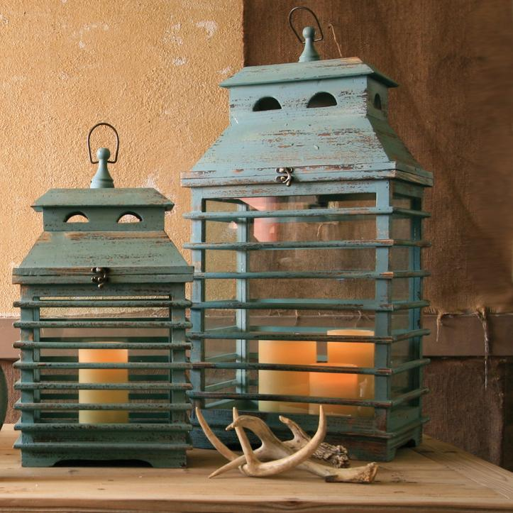 Vintage Blue Shutter Lanterns (Set of 2)