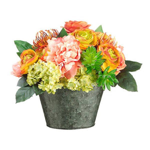 Rose/Peony/Protea in Vintage Lace Pot ~ Salmon & Coral - Cece & Me - Home and Gifts
