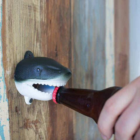 Vintage Painted Cast Iron Shark Wall Bottle Opener - Cece & Me - Home and Gifts