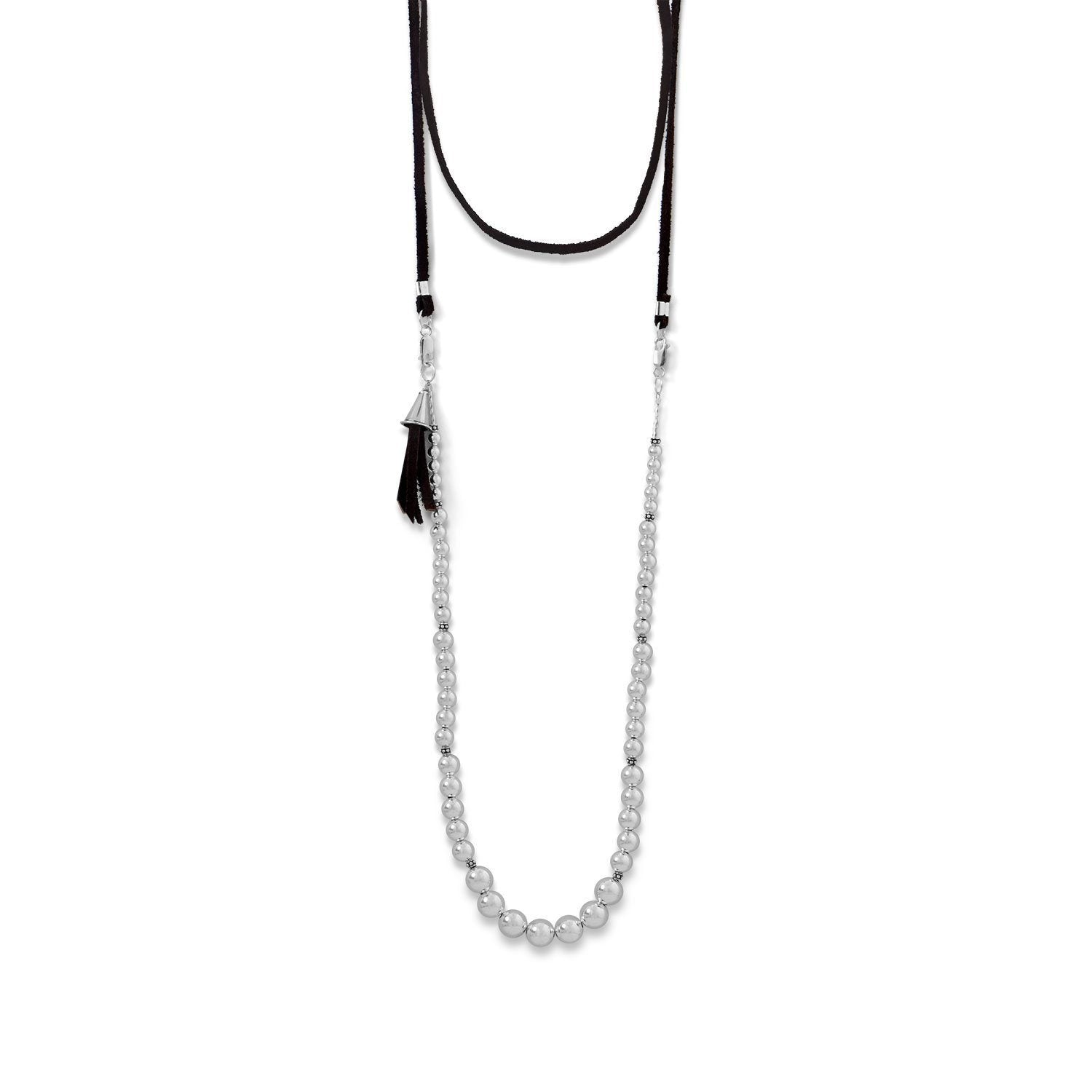 4-Way Suede and Silver Bead Necklace - Cece & Me - Home and Gifts