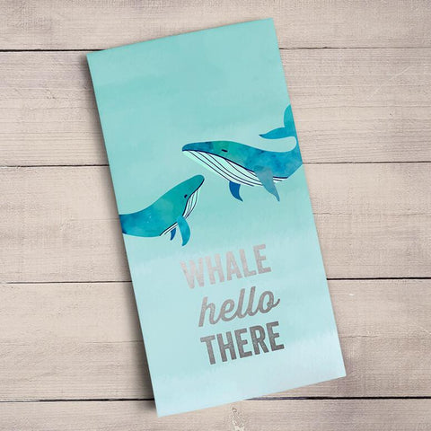 Whale Hello There - Silver Metallic Tea Towels - Cece & Me - Home and Gifts