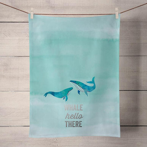 Image of Whale Hello There - Silver Metallic Tea Towels - Cece & Me - Home and Gifts