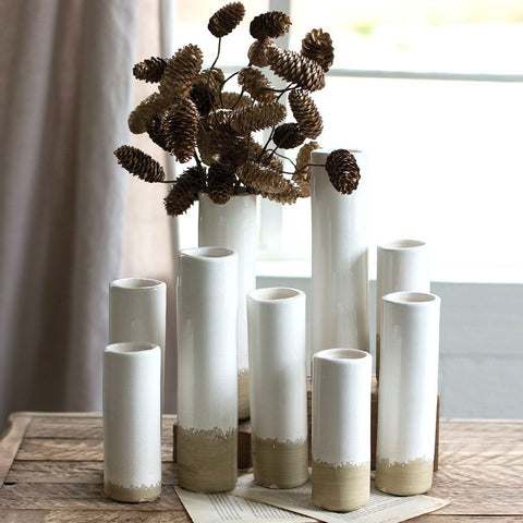 White Ceramic Cylinder Bud Vases (Set of 9) - Cece & Me - Home and Gifts