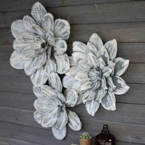 Whitewashed Wall Flowers (Set of 3) - Cece & Me - Home and Gifts