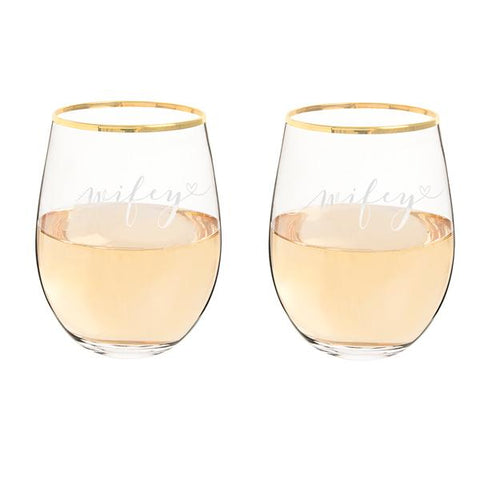 Image of Wifey & Wifey 19.25 oz. Gold Rim Stemless Wine Glasses - Cece & Me - Home and Gifts