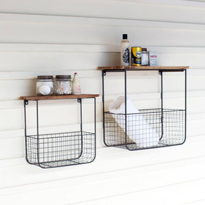 Wire Basket Shelves With Recycled Wood Tops (Set of 2) - Cece & Me - Home and Gifts