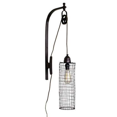 Image of Wire Cylinder Wall Lamp with Pulley - Cece & Me - Home and Gifts