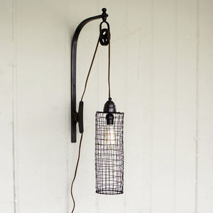 Wire Cylinder Wall Lamp with Pulley - Cece & Me - Home and Gifts
