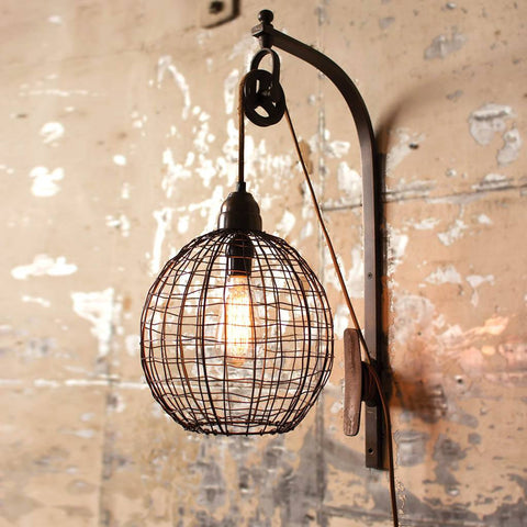 Image of Wire Sphere Wall Sconce with Pulley - Cece & Me - Home and Gifts