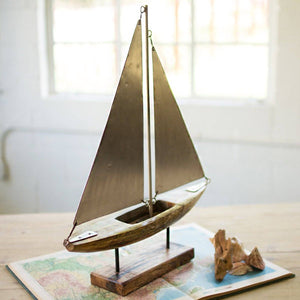 Wood And Iron Sailboat On A Stand - Cece & Me - Home and Gifts