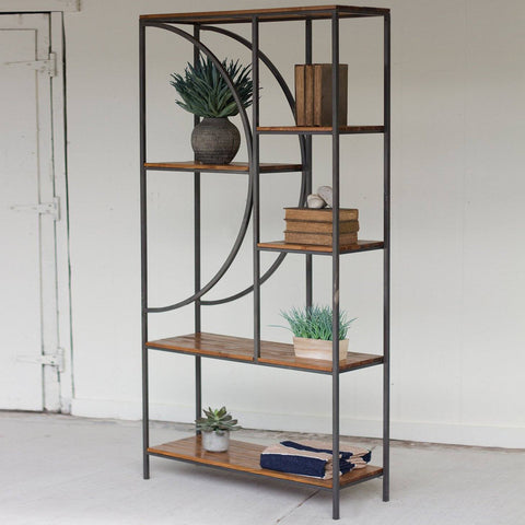 Wood and Metal Shelving Unit with Demilune Detail - Cece & Me - Home and Gifts