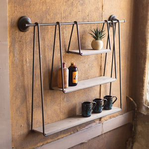 Wood and Metal Triple Hanging Shelf - Cece & Me - Home and Gifts