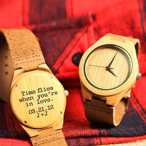 Image of Wood Engraved Bamboo Watch ~ Crux - Cece & Me - Home and Gifts