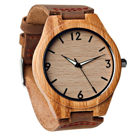Image of Wood Engraved Bamboo Watch ~ Glow Dials Aura - Cece & Me - Home and Gifts