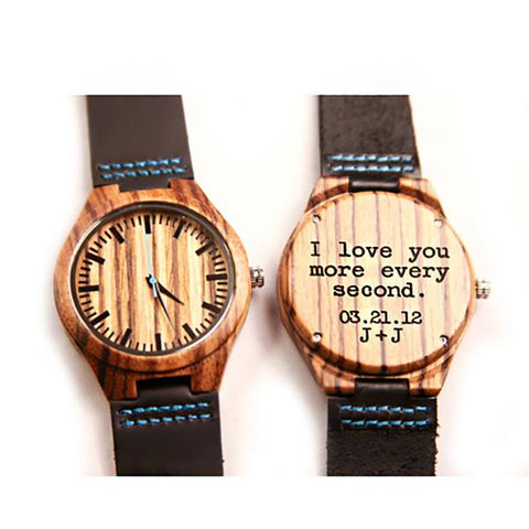 Wood Engraved Bamboo Watch ~ Ocean - Cece & Me - Home and Gifts