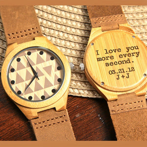 Wood Engraved Bamboo Watch ~ Tryst